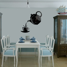 Creative DIY Acrylic Coffee Cup Teapot 3D DIY Wall Clock Decorative Kitchen Wall Clocks Living Room Dining Room Wall Decor Clock