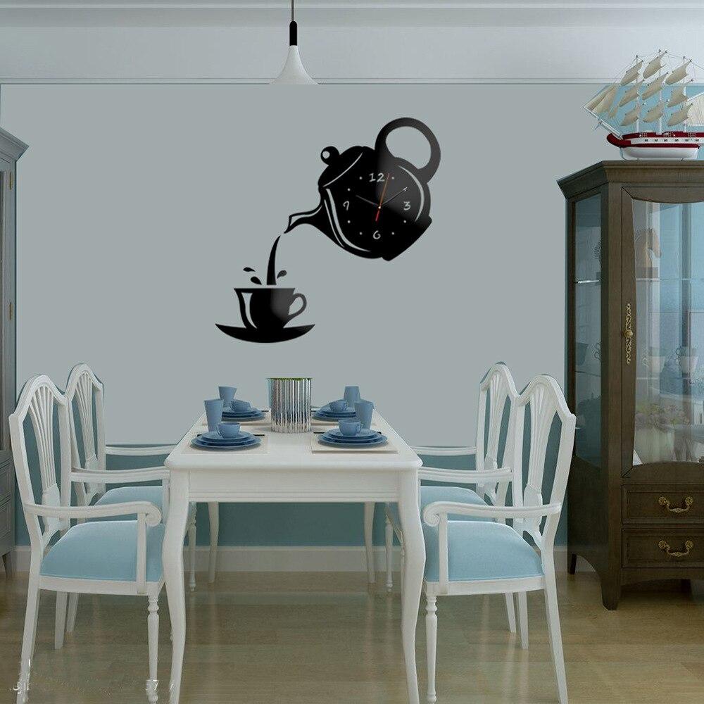 Kreative DIY Acryl Kaffee Tasse Teekanne 3D DIY Wanduhr Dekorative Küche Wanduhren Wohnzimmer Esszimmer Wand Dekor uhr
