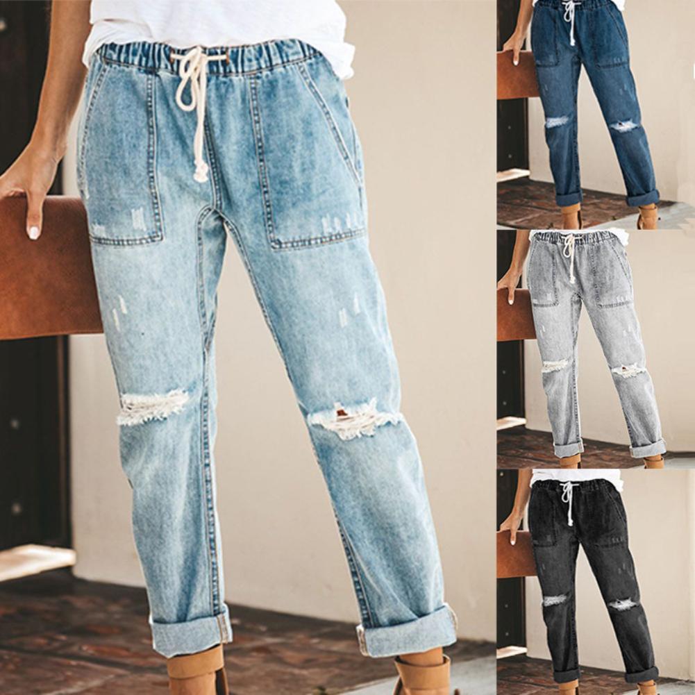 Женские джинсы, модные рваные джинсы до колена, свободные брюки-карандаш с поясом на резинке и карманами, длинные джинсовые брюки-карандаш