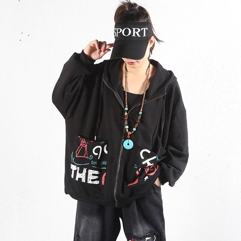 Sudaderas con capucha sudadera con cremallera con estampado de gato letra Animal Top Harajuku chaquetas femeninas Abrigo con capucha Streetwear cool