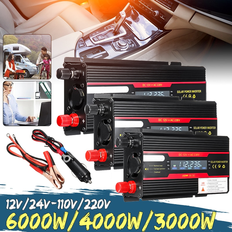 Auto Omvormer 12V 220V 3000W 4000W 6000W Piek Zonne-energie Omvormer Voltage Converter Transformator 12V 220V Inversor + Lcd Display