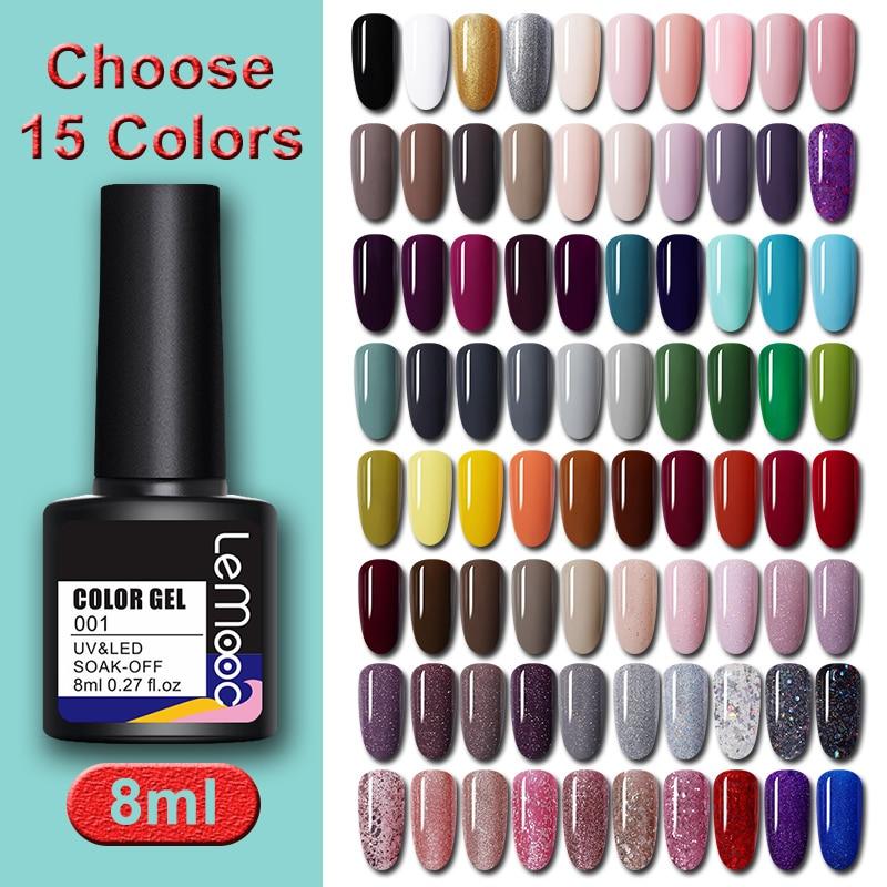 LEMOOC 8ml Gel Nail Polish Set Choose 15 Colors Soak Off Semi Permanent UV Gel Nail Art Gel Varnish Kit Lacquer LM01-LM80