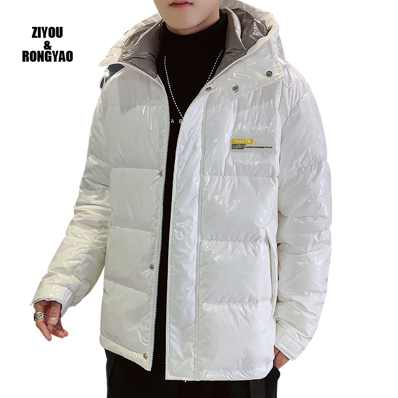 White Duck Down Jacket Silver Shiny Men's Hooded Thick Warm Loose Bright Down Jacket Men's Clothes Waterproof Casual Parka