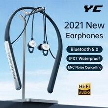 YC Earphone Bluetooth Wireless Headphones HiFi Bass ENC Noise Canceling Headset Sport Earbuds handfr