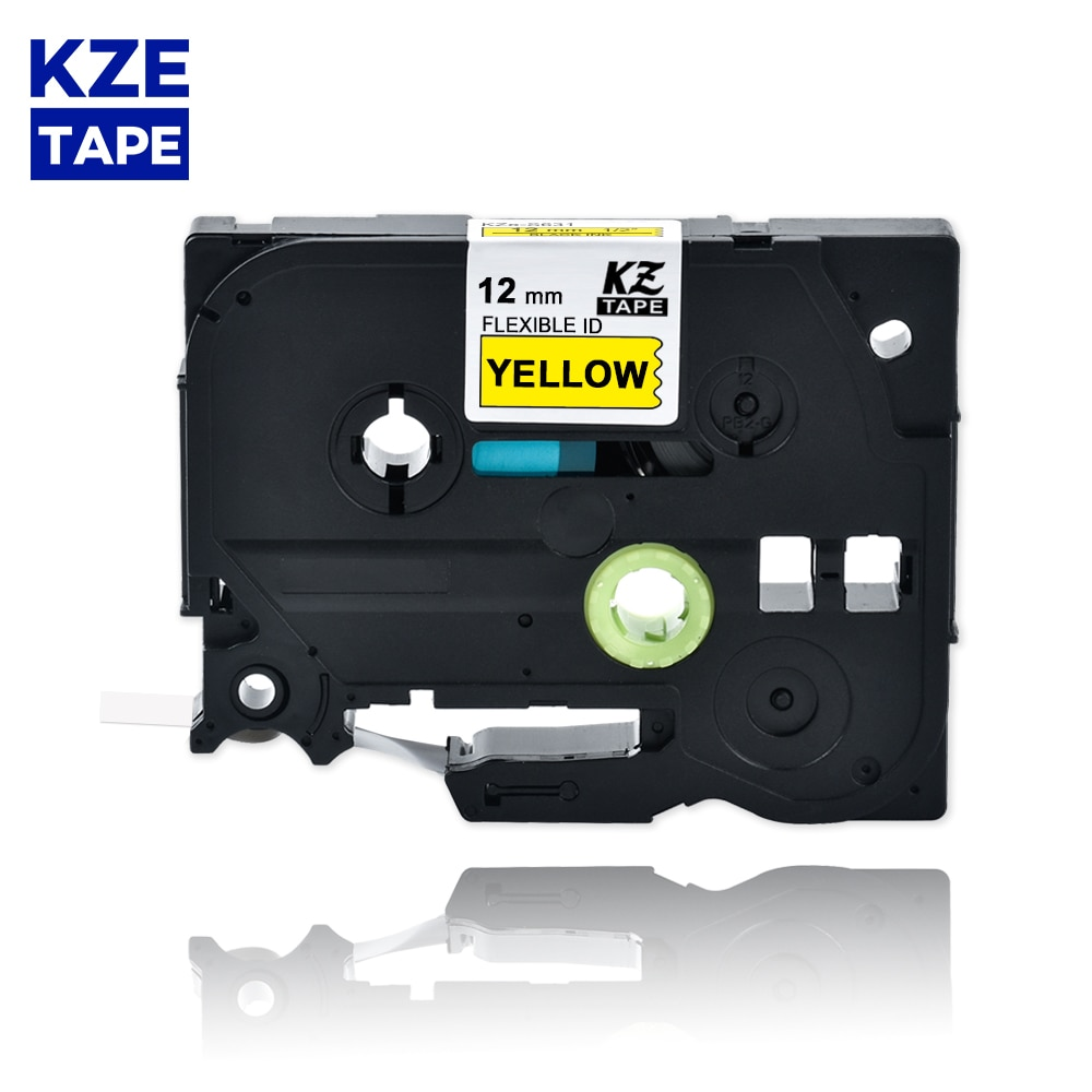 Etiqueta Flexible de Tze-FX631 de 12mm, cinta para etiquetas laminada en negro sobre amarillo, Cable Flexible, cintas de etiquetas TzeFX631 Tze FX631 para p-touch PT