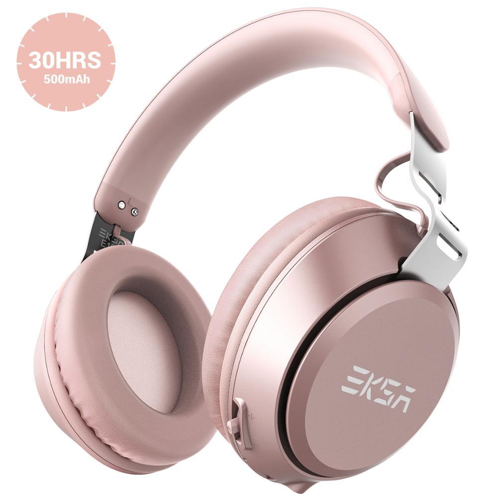 EKSA E100 الوردي سماعات أذن لاسلكية مزودة بتقنية البلوتوث 5.0 سماعة مع مايكروفون Bult-in ستيريو الإفراط في الأذن الدعوة يدوي سماعة للهاتف