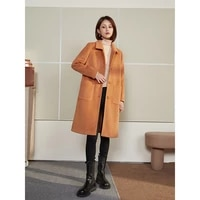 2021 winter new woolen coat mid length loose single breasted over the knee woolen coat all match temperament
