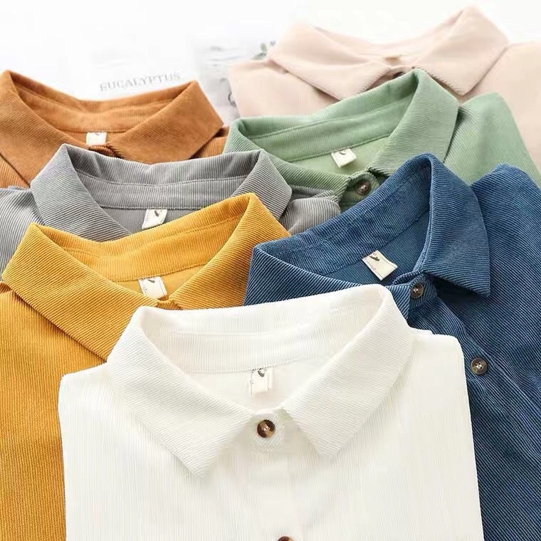 New jacket corduroy shirt versatile women's slim retro leisure long sleeve