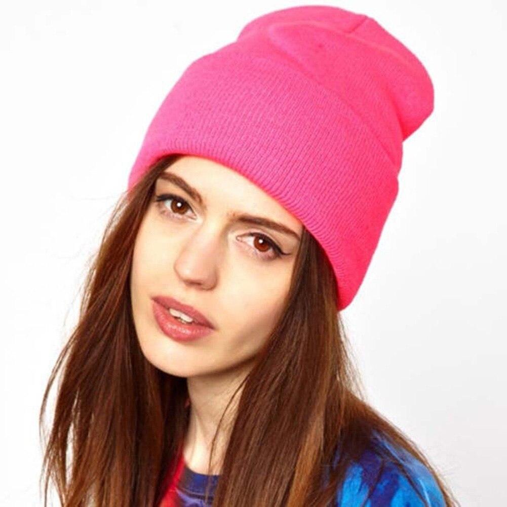 Женские Новые облегающие шапки, вязаная однотонная Милая шапка, зимние шапки, вязаные теплые мягкие Лыжные шапки унисекс, облегающие шапки, ...
