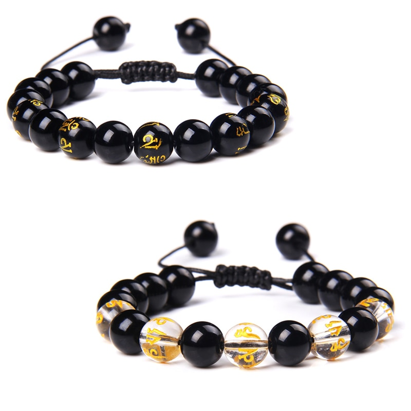 10 Mm Buddhismus Sechs Worte Gold Motto Perlen Armbänder Männer Schwarz Onyx Agat Armreif Fengshui Schmuck Handgemachte Webart Pulsera Für Frauen Strang Armbänder Aliexpress