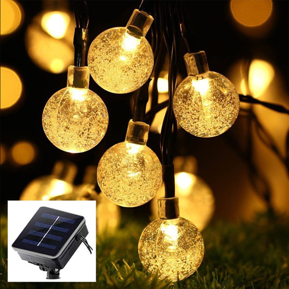 Водонепроницаемая светодиодная гирлянда на солнечной батарее, 50 светодисветодиодный с хрустальными шариками, сказосветильник светильник ...