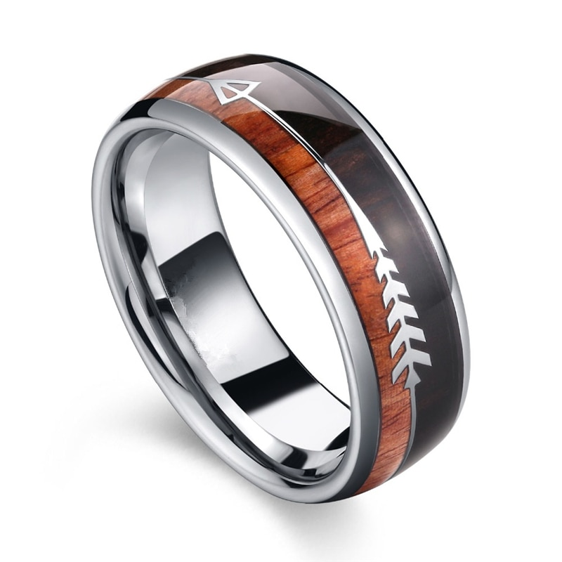 aliexpress.com - Fashion Tungsten Carbide Wood Rings Steel Arrow Inlay For Men Women Classic Engagement Ring Dome Band Polished Comfort Fit