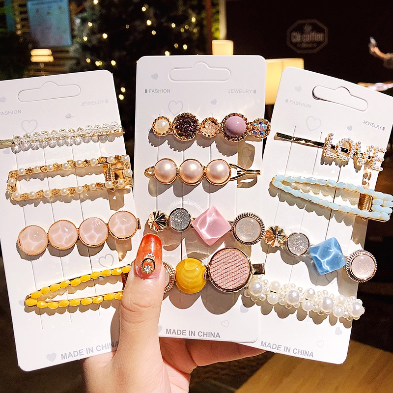 Beads Hairpins Women 2020 New 3/5 Pcs / set Ins Geometric Girls Accesorios para el cabello elegantes Sweet Headband Hair Barrettes Fashion
