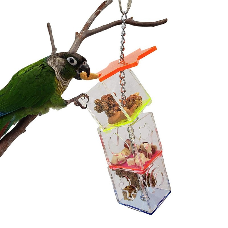 3 capas loro colgante de masticar juguete de alimentación de aves de alimentación transparente alimentador de alimentos soporte colgante forrajero en forma de estrella caja de juguete