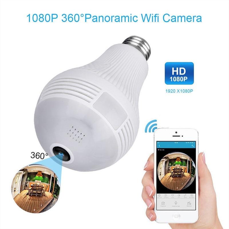 New Moresave 360 degree LED light 960P wireless panoramic home security WiFi CCTV Fisheye bulb lamp IP camera two way Audio