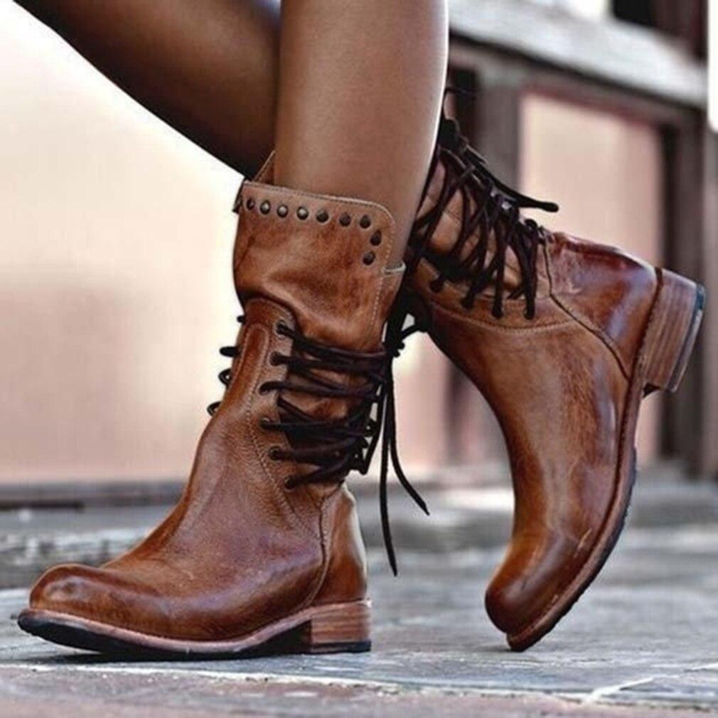 2020 nuevas botas de invierno mujer Retro Zapatos de cuero bota media antideslizante punta redonda con cordones botas Martin Zapatos caída barco tamaño 34-43
