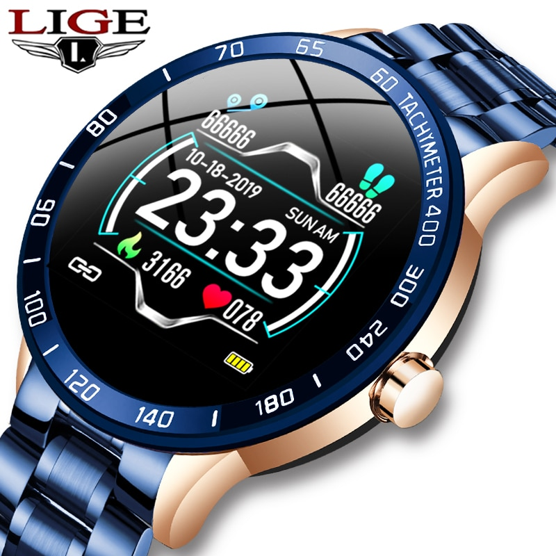 LIGE Original Steel Band Smart Watch Men Heart Rate Monitor Sport Multifunction Mode Fitness Tracker