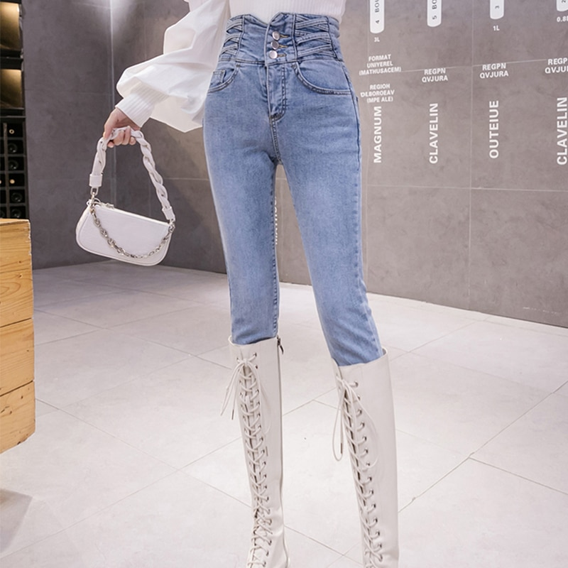 Women's Spring and Autumn Korean Style Ultra High Waist Jeans Slimming Light Color Outer Wear Croppe