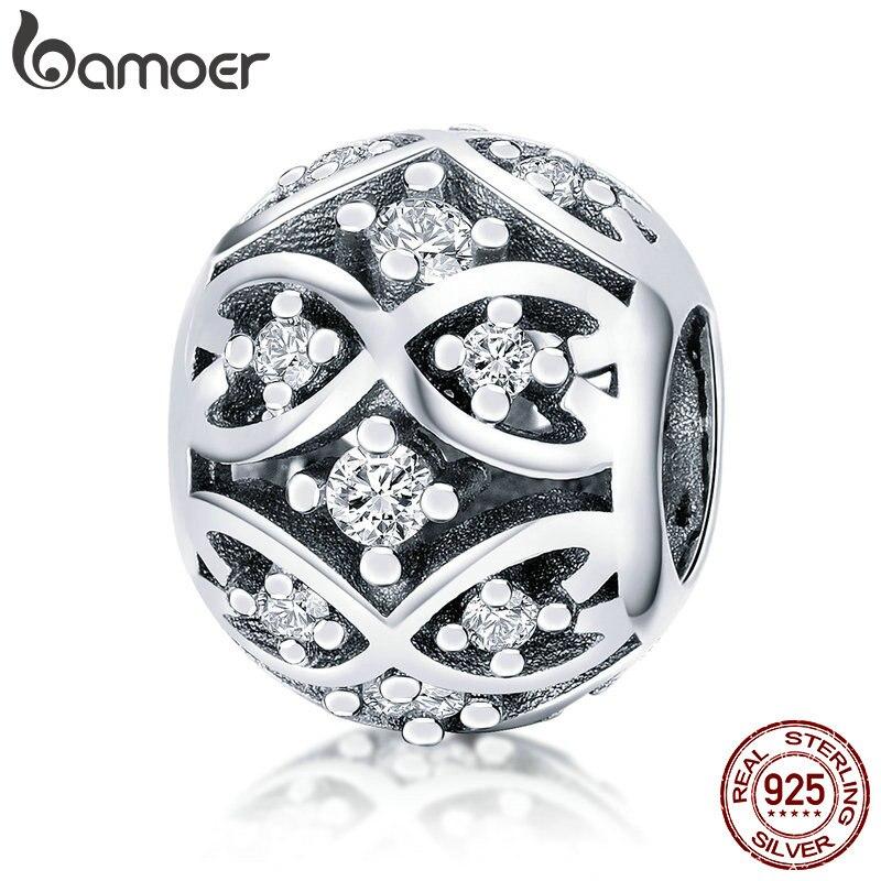 BAMOER, 100%, Plata de Ley 925 auténtica, deslumbrante CZ, elegantes cuentas para mujeres, pulseras y collares, fabricación de joyas DIY SCC732