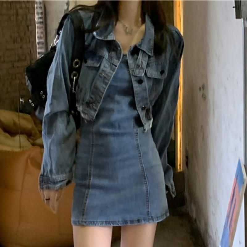 Женский цельный костюм, костюм для девушек, ковбойский костюм для осени, Корейская версия 2021, новая короткая жареная уличная мода, пальто с д...