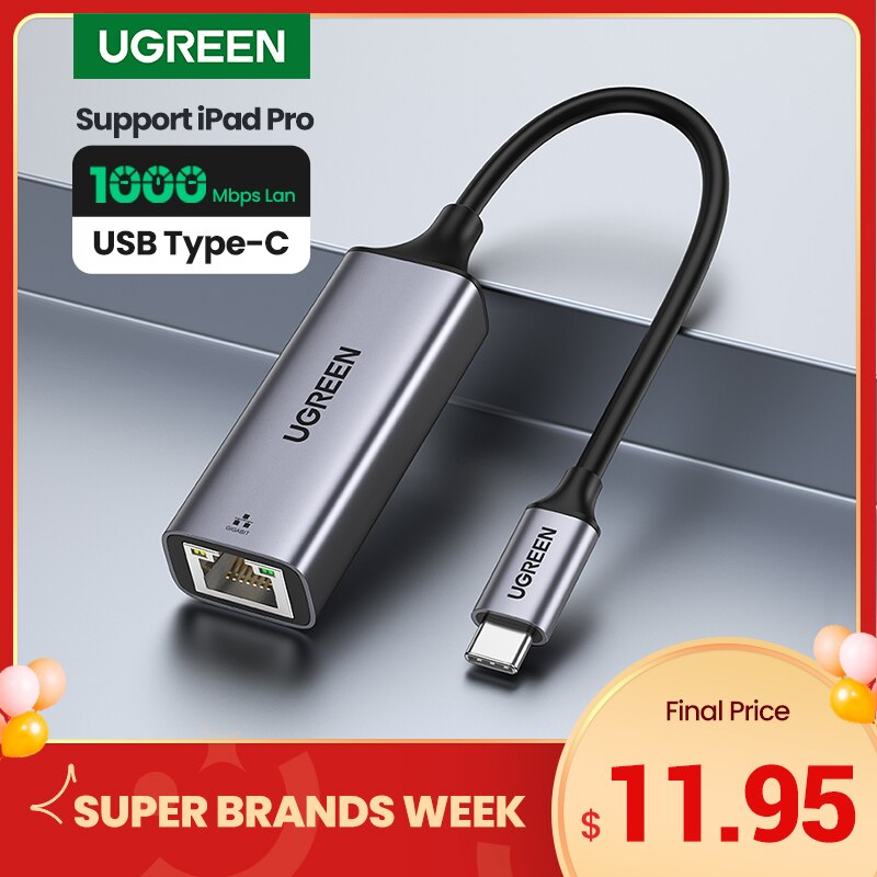 Ugreen USB C Ethernet USB-C to RJ45 Lan Adapter for MacBook Pro Samsung Galaxy S20/S10/Note 10 Type C Network Card USB Ethernet