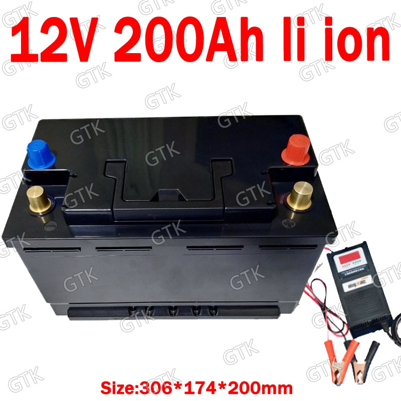 GTK 12V 200AH lithium ion battery ABS case with BMS for 1200W inverter Forklift AGV Solar energy storage+10A Charger enlarge