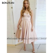 Champange Evening Dress Short 2021 A Line Sweetheart Lace Up Knee Length Formal Evening Gown for Wom