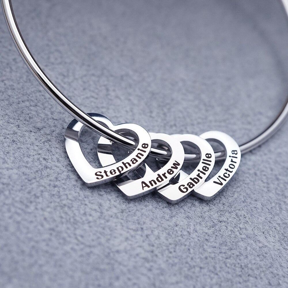 مع تصميم حسب الطلب سوار الإسورة شكل قلب المعلقات رسالة شخصية للنساء أمي هدية عيد ميلاد