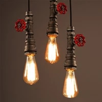 vintage industrial pendant lamp water pipe lamp e27led lights creative wrought iron industrial hanging lamp length pendant light