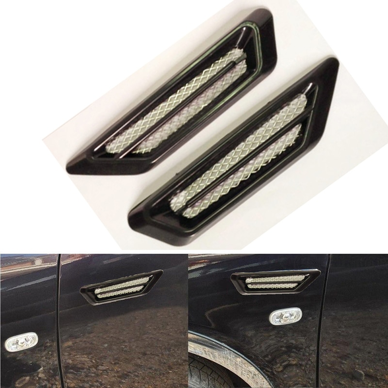 Novo criativo adesivos de carro plástico chrome fluxo ar do carro fender lado ventilação decoração grade falsa saída ar estilo do carro acessórios
