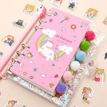 Kawaii Planner Boek 18 Stks/set Eenhoorn Planner Boek Roze Transparant Notebook Kawaii Stickers Pen Geschenkdoos Meisjes Dagboek Journal