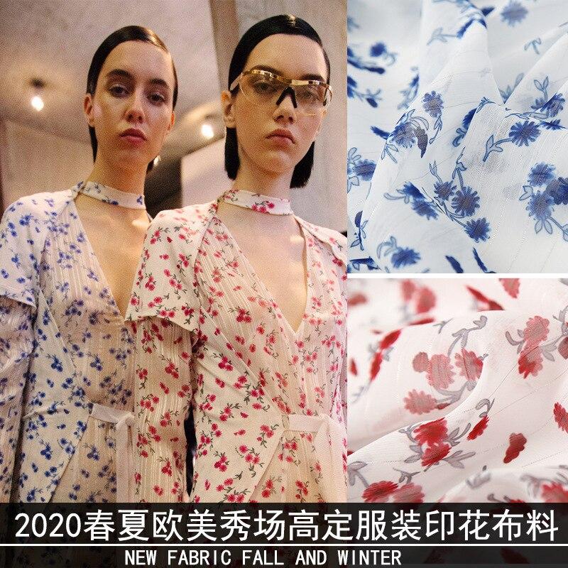 Новинка 2020, цифровая печать, весна и лето, серебро, полиэстер, шифон, маленький красный цветок, юбка, модная одежда, ткань
