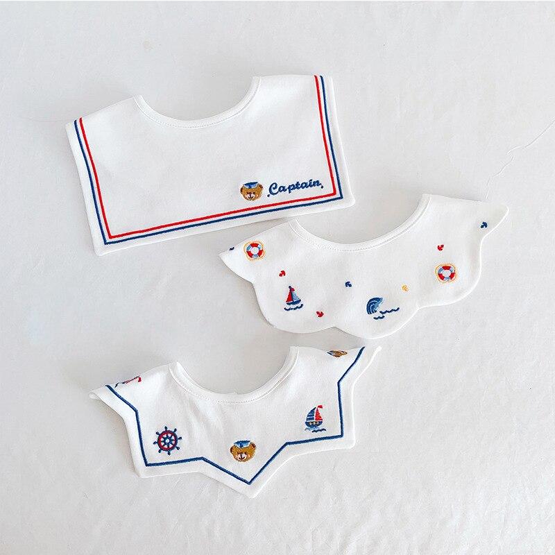 3pcs/lot Baby Girls Bibs Kids Bandana Feeding Burp Embroidery Cloth Soft Newborn Infant Boy Saliva Towel Cotton Eating Accessory