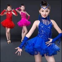 childrens latin dance skirt costumes new style girls sequins latin dance gauze tassel dance performance clothing