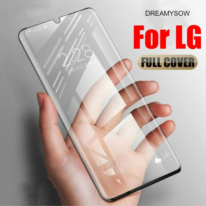 Funda completa templada de cristal para LG Q60 V50 K50 K40 V40 V30 de cristal para LG Q 60 Q7 Q6 G8 G7 protector de pantalla película de cubierta de vidrio