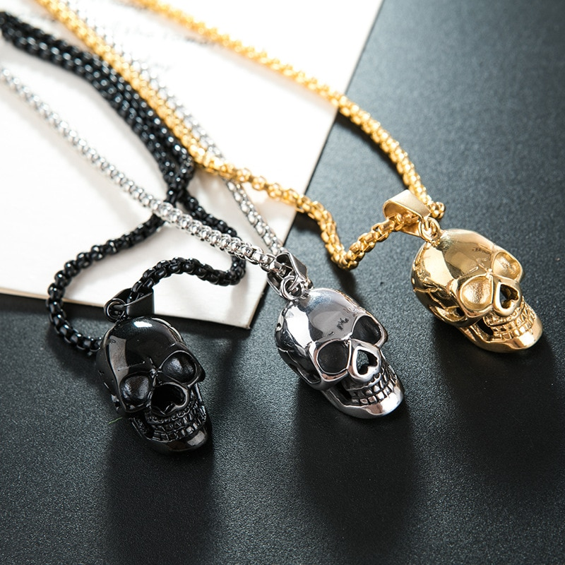 Punk Skull Pendant Necklaces For Women Men Teens Gothic Hip Hop Trendy Skull Skeleton Clavicle Necklace Fashion Jewelry Gifts vintage 316l stainless steel skull skeleton necklace pendant for motorcycle party punk gem necklace hip hop men jewelry