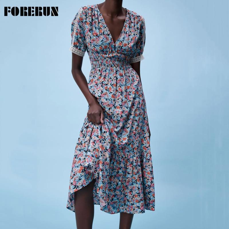 FORERUN Summer Floral Lace Long Dresses Women V Neck Short Sleeve Bohemian Ruffle Maxi Dresses Robe Femme Vestidos