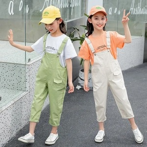 Summer Children's Girls Beige White Green Overalls Child Kids Bib Pants Jumpsuit And Rompers Outfits Clothing 4 5 6 7 8 9 10 Yea