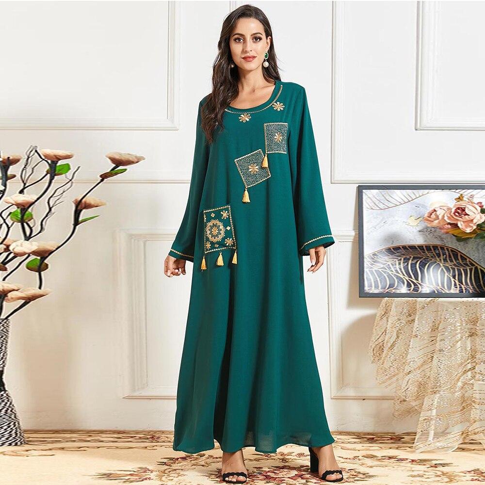 Ramadan Muslim Dress Eid Abaya Dubai Turkey Arab Hijab Maxi Vestidos Islamic Women Moroccan Vestidos India Moroccan Kaftan 2021