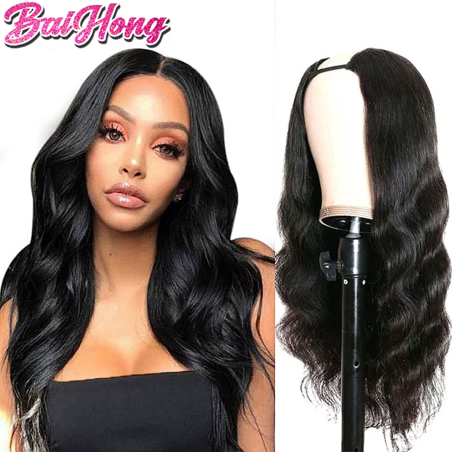 U Part Wig Body Wave Human Hair For Woman Brazilian Remy Pelucas Cheap U Sharp Natural Human Hair Wigs Glueless BAIHONG