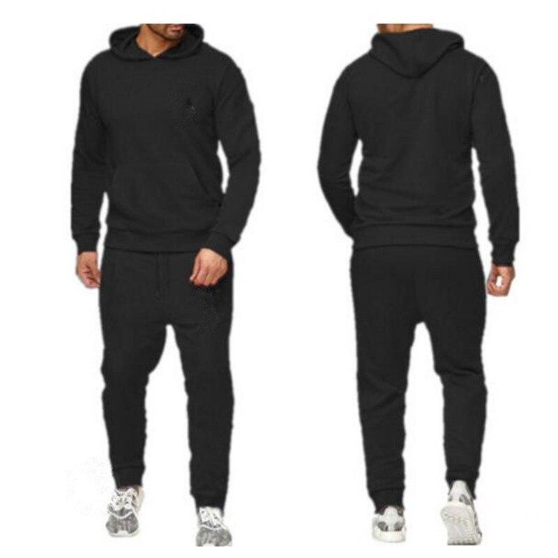 2020 2 conjuntos de nova moda jaqueta masculina moletom moletom moletom com capuz outono e inverno marca masculina