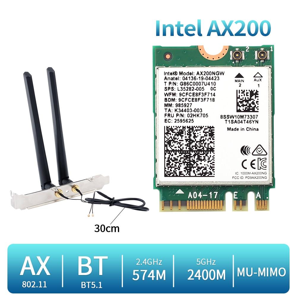 بطاقة شبكة wi-fi 6 لاسلكية مزدوجة النطاق 2400 ميجابت في الثانية ، بطاقة Intel AX200 ، مجموعة سطح المكتب ، Bluetooth 5.1 ، AX200NGW ، NGFF M.2 802.11ax ، محول Windows 10
