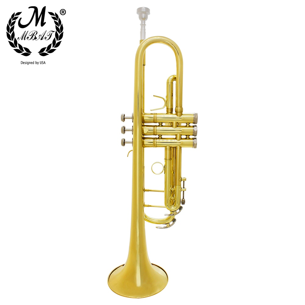 M MBAT Golden Trumpet Bb B Flat Professional Brass Instrument Large Caliber Trumpet With Box Strap Mouthpiece Music Accessories enlarge