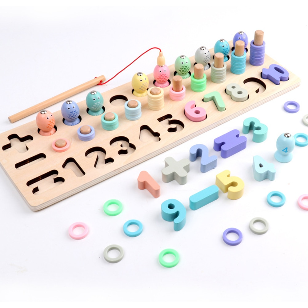 Engraçado de madeira contagem aprendizagem jogo círculo crianças para a criança símbolo educacional brinquedos de pesca magnética número bloco matemática conjunto