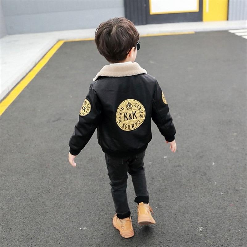 Boy's leather jacket autumn and winter baby fashionable fleece-lined leather jacket children padded jacket Infant Toddler enlarge