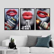 Affiche de fille Sexy chaude lèvres rouges Dollar feux dartifice dangereux argent Art peinture affiche imprime peinture décorative Art mural toile