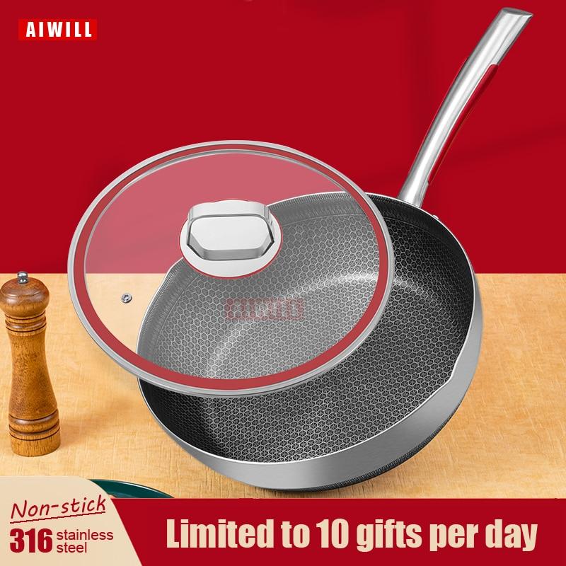 AIWILL-sartén de acero inoxidable 316, Wok, saludable, antiadherente, uso general para cocina...