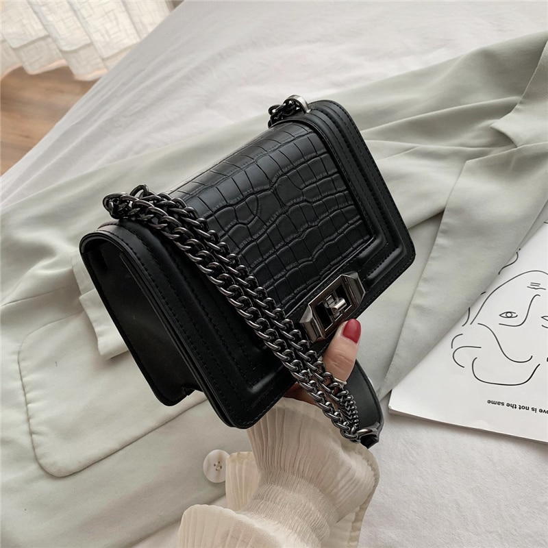 Shoulder Bag Small Crossbody Bags for Women 2020 Luxury Fashion Alligator High Quality PU Leather Chain Bag Designer New Black