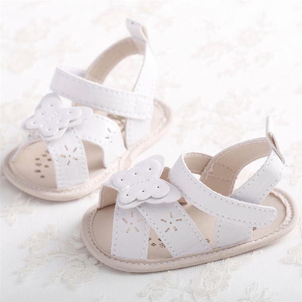 Baby Shoes Girl Sandals Soft Anti-Slip Sole Princess White Summer Crib Light Weight Butterfly Newborn Crib Sandals