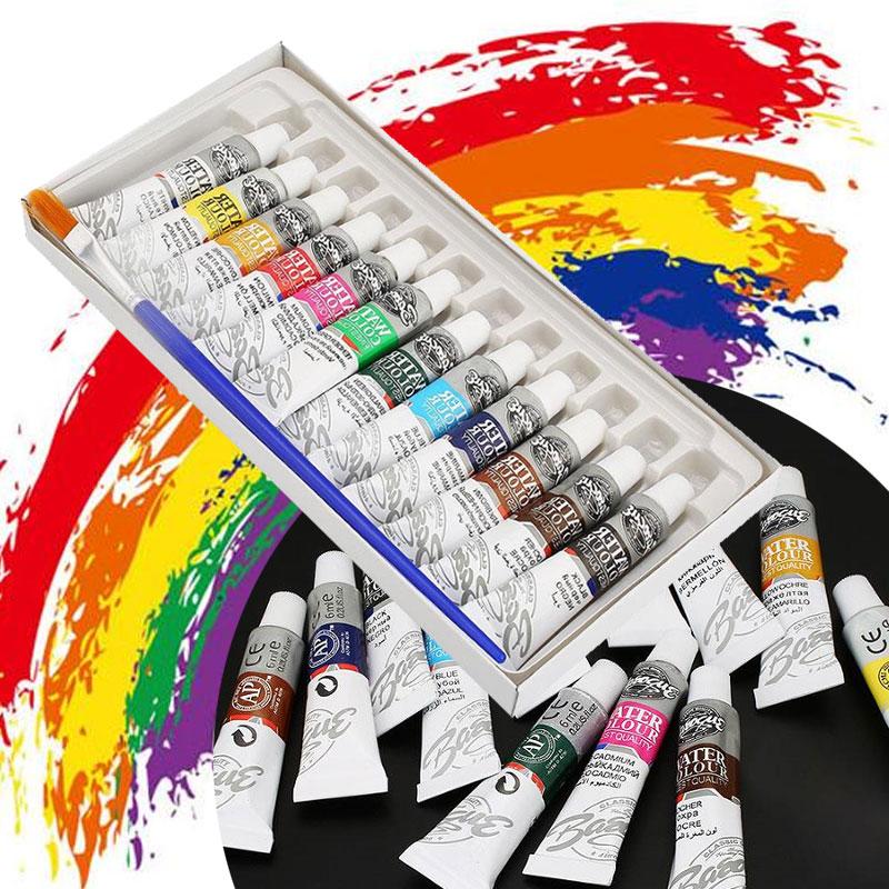 12 cores 6ml tintas suprimentos pintura a óleo fonte desenhar tubo acrílico conjunto de pintura a óleo pincel pintura a óleo conjunto arte pintura livre